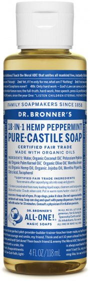 Pure-Castile Liquid Soap Peppermint 4 Oz by Dr Bronner's