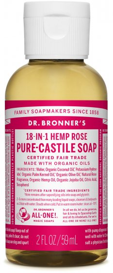 Pure Castile Liquid Soap - Rose 2 Oz by Dr Bronner's