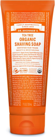 Organic Shaving Soap Tea Tree - 7 Oz by Dr Bronner's