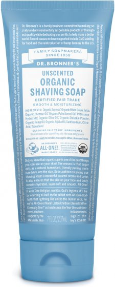 Organic Shaving Soap Unscented - 7 Oz by Dr Bronner's