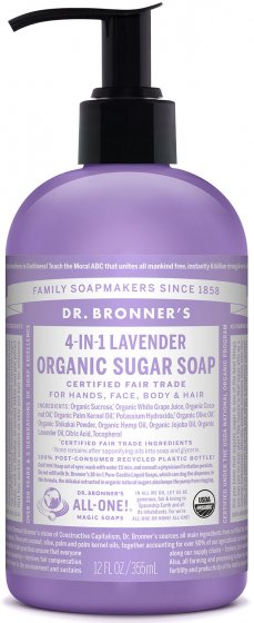 Organic 4-in-1 Pump Soap Sugar Lavender 12 Oz by Dr Bronner's