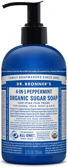 Organic 4-in-1 Pump Soap Sugar Peppermint 12 Oz by Dr Bronner's