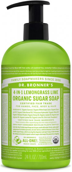 Organic Sugar Soap Lemongrass - 24 Oz by Dr Bronner's