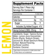 Load image into Gallery viewer, Real-Fruit Infused Lemon Gummies 250mg -10 count by Wyld CBD - Facts