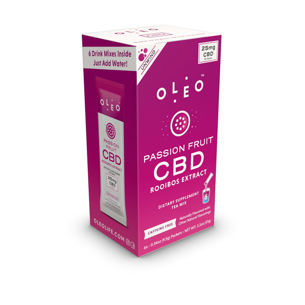Passion Fruit CBD Drink Mix - 6 Packets by Oleo