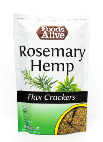 Rosemary Hemp Flax Crackers Organic - 4 Oz by Foods Alive