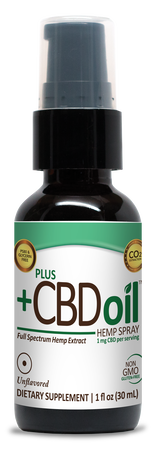 CBD Spray 100mg Unflavored - 1 Oz by Plus CBD Oil