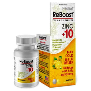 T Relief ReBoost Zinc +10 Cold & Flu Relief Lemon 60 Tabs