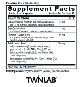 CBD+ Relief - 30 Count by Twinlab - Facts