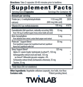 CBD+ Sleep - 30 Count by Twinlab - Facts