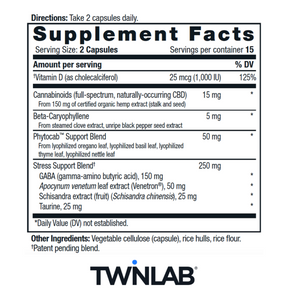 CBD+ Stress - 30 Count by Twinlab - Facts