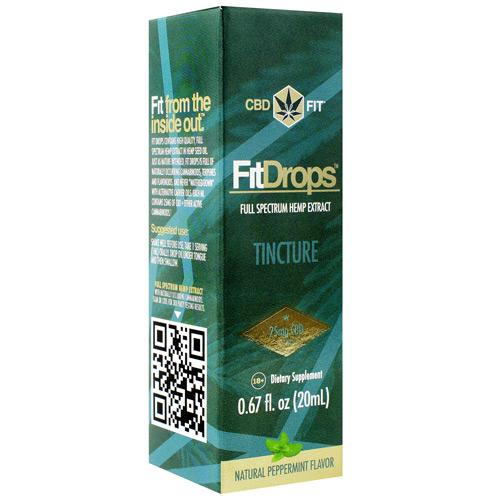 Tincture Fit Drops Natural (Peppermint Flavor) 20 ml by CBD Fit