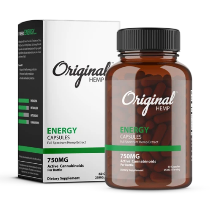 Energy Capsules (750mg) | Full Spectrum Hemp Extract - 60 Caps by Original Hemp