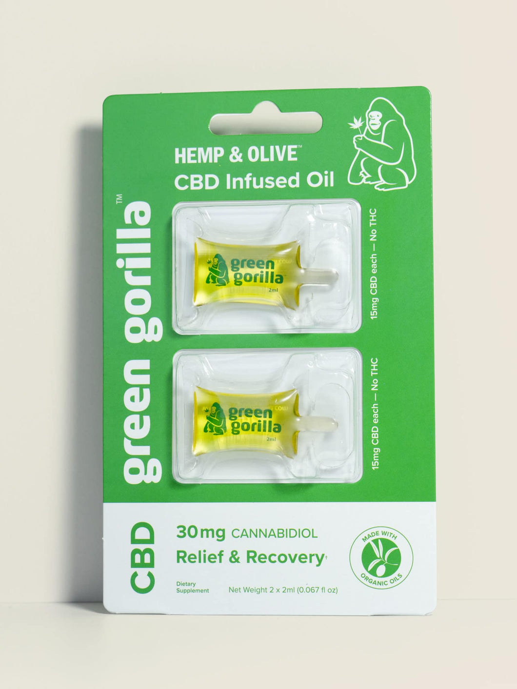 Hemp & Olive CBD infused Oil Single Serving Pack 30mg - 0.067 Oz by Green Gorilla
