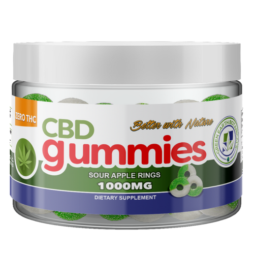 CBD Gummies Sour Apple Rings 1000mg - 8 Oz by Green Earth Botanicals