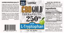 Load image into Gallery viewer, Lidtke Full Spectrum CBD Gold oil with L-Tryptophan 250mg -1 Oz