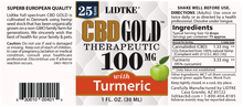 Load image into Gallery viewer, Lidtke Full Spectrum CBD Gold oil with Turmeric  100mg -1 Oz