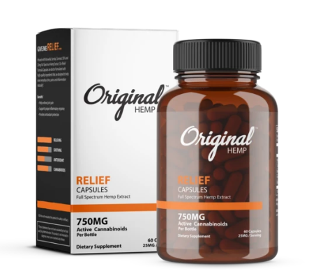 Relief Capsules (750mg) | Full Spectrum Hemp Extract - 60 Caps by Original Hemp