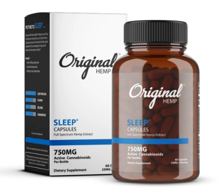 Sleep Capsules (750mg) | Full Spectrum Hemp Extract - 60 Caps by Original Hemp