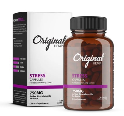 Stress Capsules (750mg) | Full Spectrum Hemp Extract - 60 Caps by Original Hemp