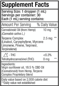 CBD Oil 375 mgs With Terpenes Complex Cholorophyll Free - 1 Oz by Smart Organics - Facts