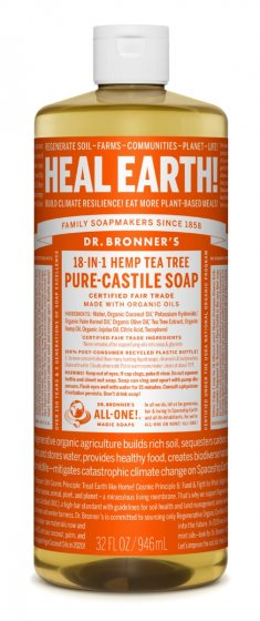 Pure Castile Liquid Soap Hemp Tea Tree 32 Oz by Dr Bronner's