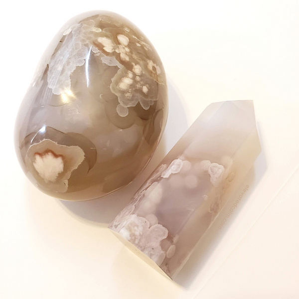 Carved Heart~ Flower Agate~ Palm Stone~ Therapy Stone~ Large 6.77 oz~ Madagascar~ Sakura Cherry Blossom Crystal~ Manifest your Dreams