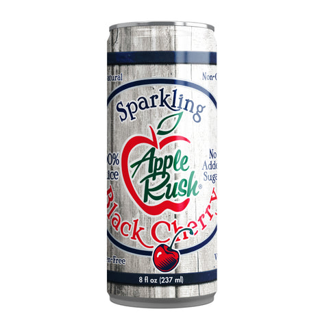 Apple Rush Sparkling Juice 100% - 8 oz can - Black Cherry 24 Pack