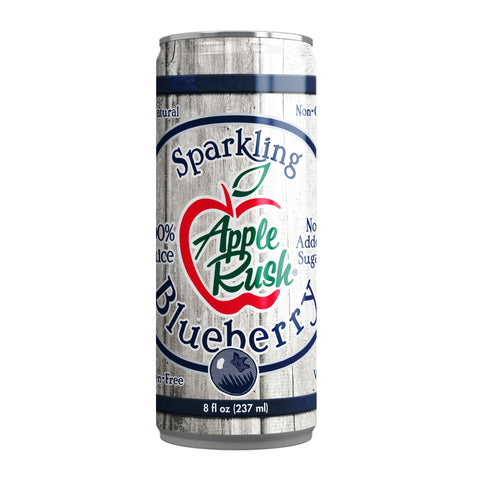 Sparkling Blueberry 8 Fl Oz Cans (4 Count) - Apple Rush Sparkling Juice Blends - Free US Shipping