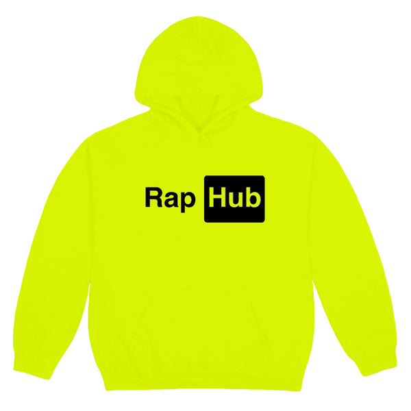 RAP HUB HOODIE NEON YELLOW - OUTTATHISWORLD