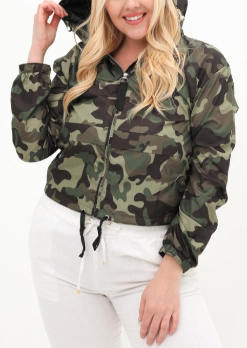 SIZE UP 1 | PLUS SIZE | HOODED CAMO JACKET - spazz26