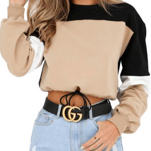 PLUS SIZE | Khaki Black Drawstring Cropped Color block Sweatshirt - spazz26