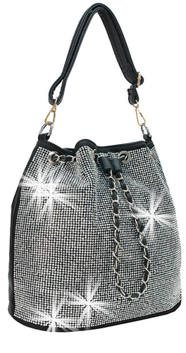 Rhinestone Bling Drawstring Hobo - spazz26