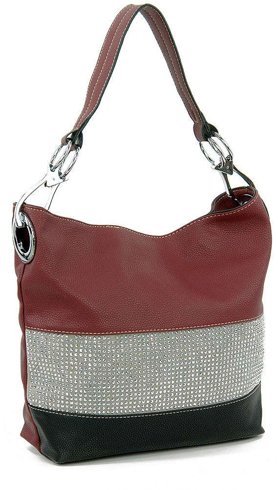 Bling Accent Banded Hobo - spazz26