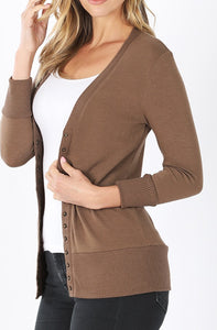 HOT MOCHA SNAP BUTTON SWEATER CARDIGAN - spazz26