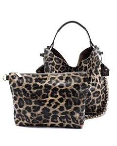 DIAMOND COLLECTION    D-0273-BR Leopard Chain 2-in-1 Shoulder Bag - spazz26