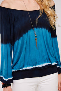 PLUS SIZE | Navy and Turquoise Dip dye top - spazz26