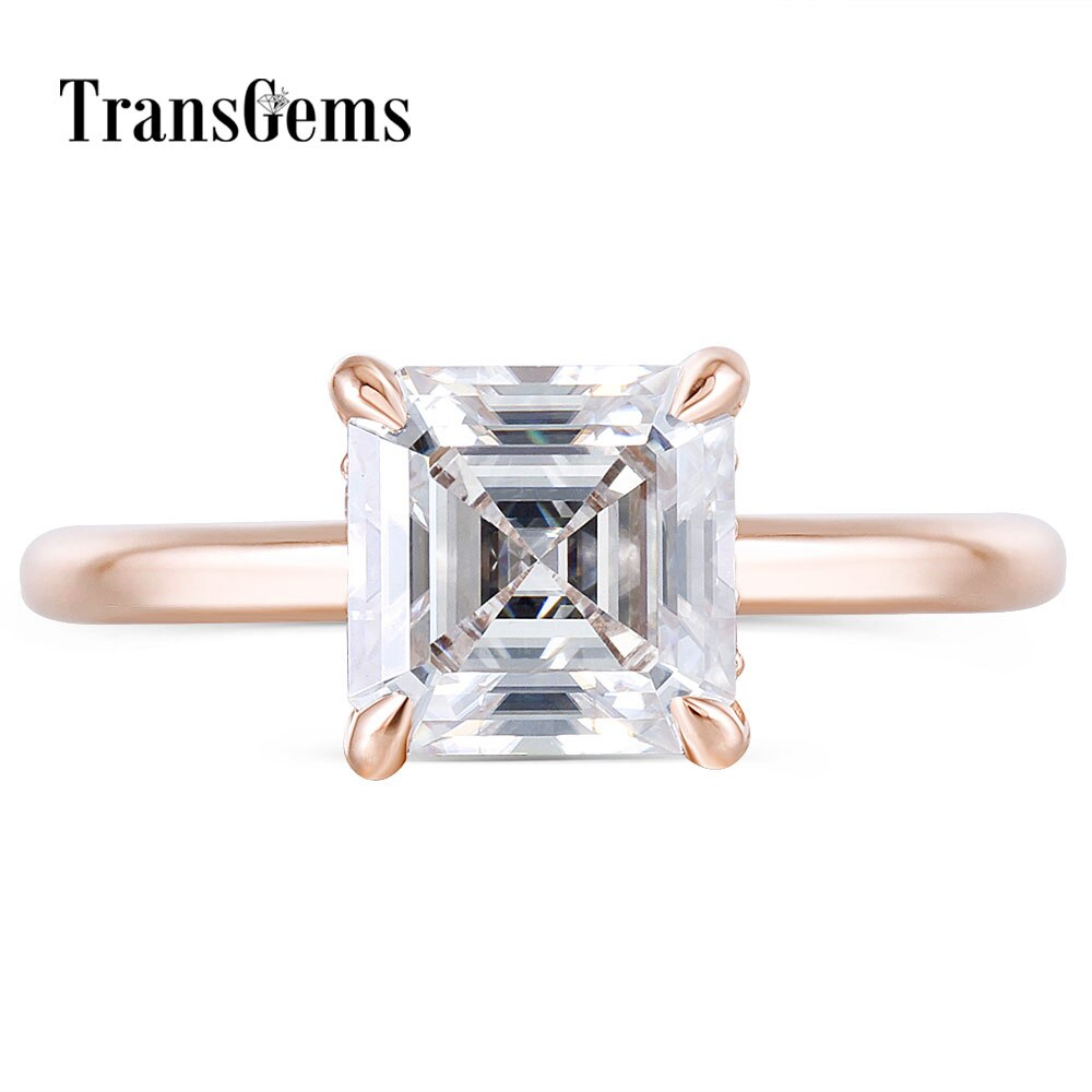 TransGems Fashion 14K Rose Gold 6.5mm FG Color Asscher Cut Moissanite Diamond Engagement Rings For Women Wedding with Accents