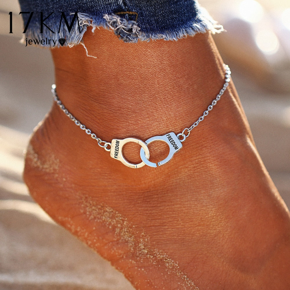 17KM Silver Color Fashion DIY Anklets for Women Girl Bohemian Friendship Anklet Handmade Bracelet Barefoot Party Jewelry Gift