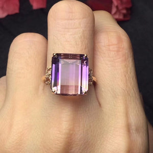 Real Pure 18 K Rose Gold Jewelry Au750 Rectangle 100% Natural Ametrine Gemstone Jewellery Ring Wedding Rings for women Fine Gift
