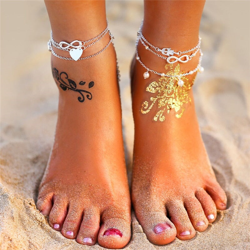 17KM Boho Anklet Bracelets 2019 For Women Vintage Silver Heart Infinite Silver Anklets Set Beach Bohemian Jewelry Drop shipping
