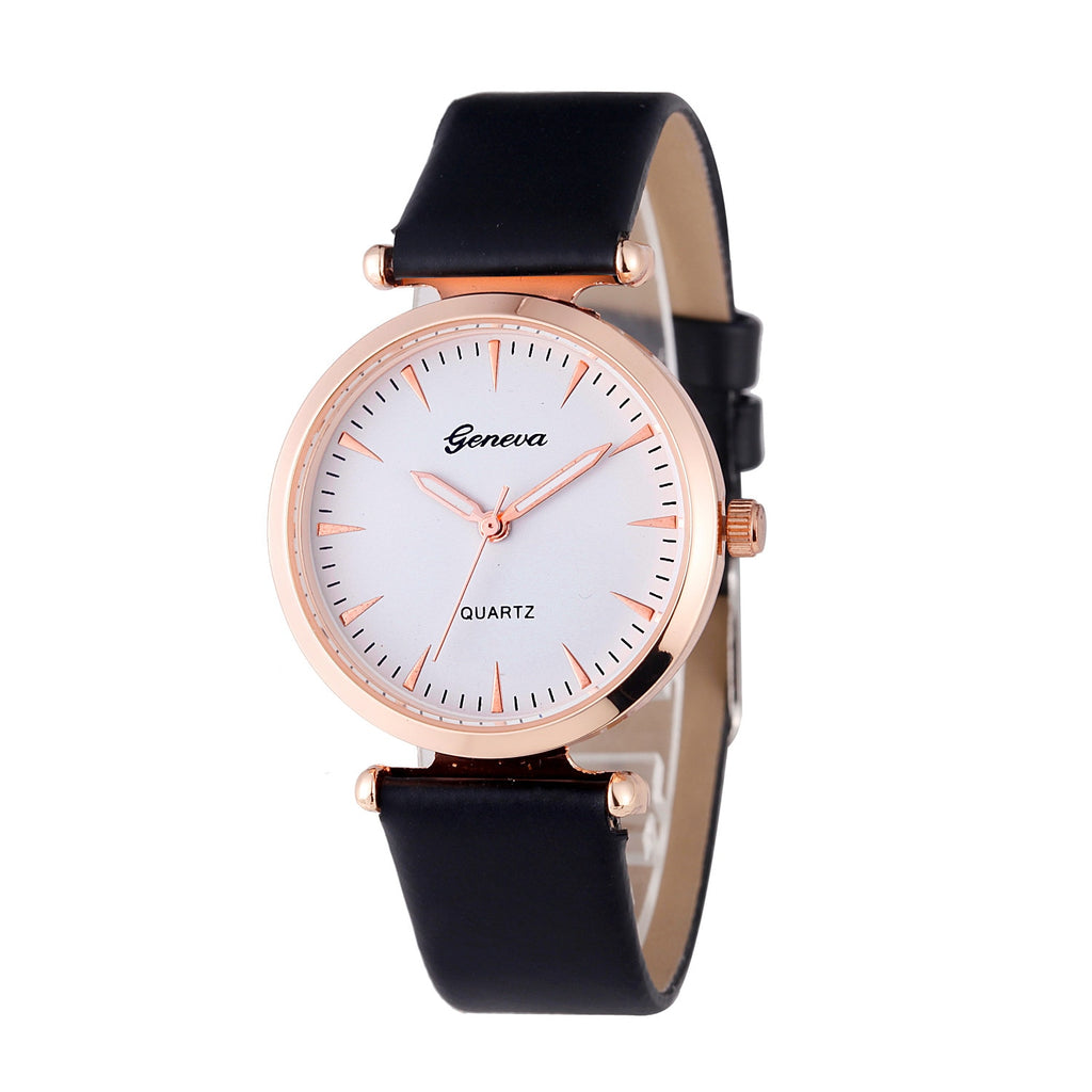 Faux Leather Analog Wrist Watch