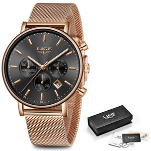 LIGE Top Brand Fashion Luxury Rose Gold Blue WristWatch Casual Fashion Women Watches Quartz Clock Gift Watch Woman Montre Femme