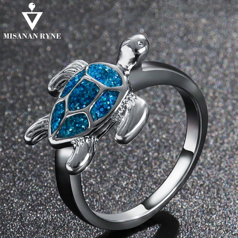 MISANANRYNE Romantic rings Turtle shape silver Color for Women Girls Christmas Party Jewelry Gifts Accessories