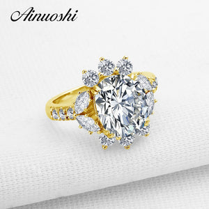 AINUOSHI Luxury 4 Carat Oval Flower Engagement Ring Real 14K Solid Gold Brilliant Oval Cut Lab Grown Diamond Women Wedding Ring