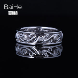 BAIHE Sterling Silver 925 0.1CT Certified H/SI Round Cut 100% Genuine Natural Diamonds Engagement Women Trendy Fine Jewelry Ring
