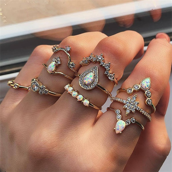 9 Design Boho Vintage Gold Star Midi Moon Rings Set For Women Opal Crystal Midi Finger Ring 2019 Female Bohemian Jewelry Gifts