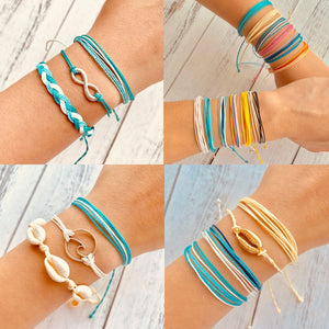 17KM Bohemian Shell Rope Ins Bracelets Set For Woman Multilayer Wave Infinity Weaved Colorful Chain Bracelet Adjustable Jewelry