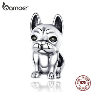 bamoer French Bulldog Metal Beads for Women Original Silver Charm Bracelet 925 Sterling Silver European Fashion Jewelry SCC1306