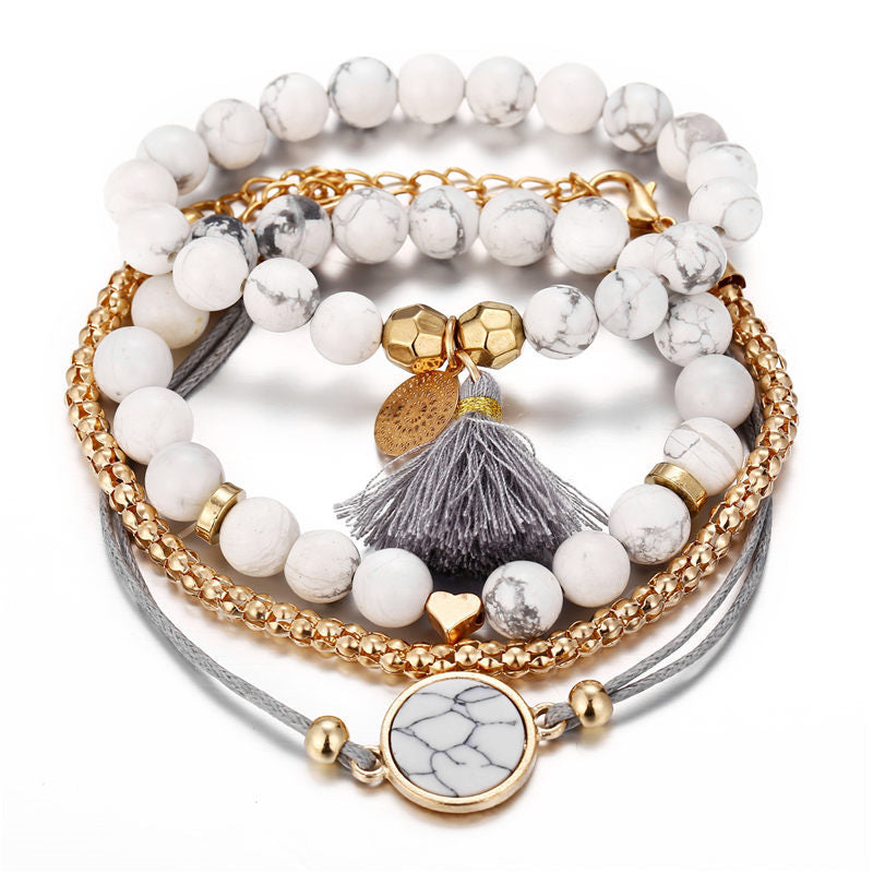 Love Turtle Heart Pearl Wave Crystal Marble Charm Multilayer Bracelets for Women Boho Tassel Bracelet Bangle Jewelry
